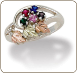 Black Hills Silver Mothers Ring with Birthstones (SKU: LR2251BSS)