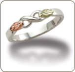 Sterling Silver Ladies Infinity Ring with Black Hills Gold Leaves (SKU: LR2417SS)