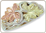 Sterling Silver Ladies Ring with Black Hills Gold Leaves (SKU: LR2800SS)