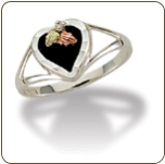Sterling Silver Ladies Onyx Heart Ring (SKU: LR2841SS)