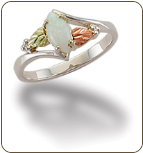 Sterling Silver Ladies Opal Ring with Black Hills Gold Leaves (SKU: LR2948SS)