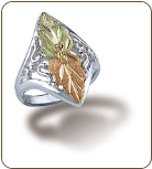 Sterling Silver Ladies Ring with Black Hills Gold Leaves (SKU: LR2950SS)