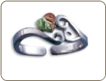 Sterling Silver Adjustable Toe Ring with Heart of Leaves (SKU: LR2987SS)