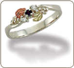 Sterling Silver Ladies Ring with Black Hills Gold Leaves and Birthstones (SKU: LR3013SS)