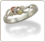 Sterling Silver Ladies Diamond Ring with Black Hills Gold Leaves (SKU: LR3027XSS)