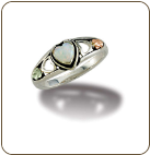 Sterling Silver Heart Ring with Opal Heart and Leaves (SKU: LR3046SS)