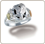 Sterling Silver Ladies Onyx Ring with Eagle and Black Hills Gold Leaves (SKU: LR3053SS)