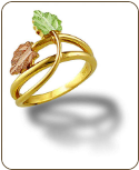 Ladies Black Hills Gold Ring with Pink & Green Leaves (SKU: LR3057)