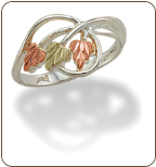 Sterling Silver Ladies Ring with Black Hills Gold Leaves (SKU: LR3068SS)