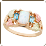 Black Hills Gold Ladies Ring with Opal and Swiss Blue Topaz (SKU: LR3070)