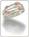 Sterling Silver Ladies Ring with Black Hills Gold Leaves (SKU: LR3072SS)