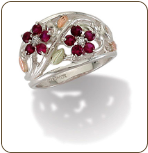 Sterling Silver Ladies Ring with Black Hills Gold Leaves and Birthstones (SKU: LR986SS)