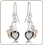Black Hills Silver Heart Earrings with Opal Heart (SKU: ER3046SS)