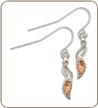 Sterling Silver Earrings with Black Hills Gold Leaves (SKU: ER3209SS)