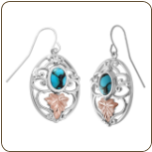 Black Hills Silver Earrings with Gold Leaves and Turquoise (SKU: MRLER3807TQ)
