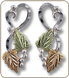Sterling Silver Heart Earrings with Classic Black Hills Gold Leaves (SKU: ER644PSS)