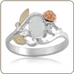 Sterling Silver Ladies Opal Ring with Gold Rose (SKU: LR603SS)