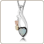 Black Hills Silver Heart Necklace with Opal Heart Pendant (SKU: PE3046SS)