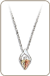 Sterling Silver Diamond Pendant with Black Hills Gold Leaves (SKU: PE3228XSS)