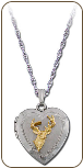 Sterling Silver Heart Locket with Black Hills Gold Deer and Leaves (SKU: PE865SS)