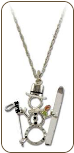 Sterling Silver Snowman Pendant with Skis and Black Hills Gold Leaves (SKU: PE1052SS)