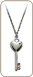 Black Hills Silver Key and Heart Pendant with Leaves and Diamond (SKU: PE1151XSS)
