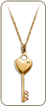 Black Hills Gold Key and Heart Pendant with Leaves and Diamond (SKU: PE1151X)