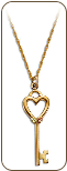 Black Hills Gold Key and Heart Pendant with Leaves in Yellow or Rose Gold (SKU: PE1153)