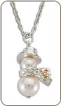Sterling Silver and Pearl Snowman Necklace with Black Hills Gold Leaves (SKU: PE1934SS)