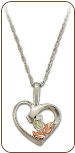 Sterling Silver Heart Pendant with Black Hills Gold Leaves and Diamond (SKU: PE3311XSS)