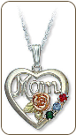 Sterling Silver Gold Mothers Heart Pendant with Birthstones (SKU: PE518SS)