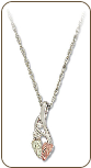 Sterling Silver Pendant with Black Hills Gold Leaves and Diamond (SKU: PE770XSS)