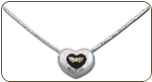 Sterling Silver Antique Heart Pendant with Black Hills Gold Leaves and Diamond (SKU: PE777XSS)