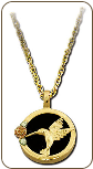 Black Hills Gold and Onyx Hummingbird Necklace with Black Hills Gold Leaves (SKU: PE791)