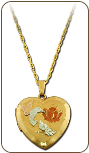Black Hills Gold Heart Locket with Hummingbird (SKU: PE792)