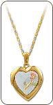 Black Hills Gold Heart Locket with Rose in Mother Of Pearl (SKU: PE799)
