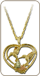 Black Hills Gold Heart Pendant with dual Hummingbirds (SKU: PE813)