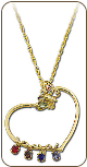 Black Hills Gold Mothers Heart Pendant with Birthstones and Butterfly (SKU: PE849)
