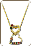 Black Hills Gold Mothers Heart Pendant, Dangling Hearts with Birthstones (SKU: PE852)