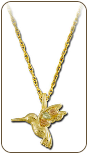 Black Hills Gold Hummingbird Pendant (SKU: PE933)