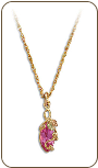 Black Hills Gold Necklace with Rose Zircon Pendant (SKU: PE968-310)
