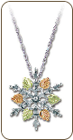 Sterling Silver Snowflake Pendant with Black Hills Gold Leaves (SKU: PE973SS)