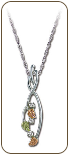 Sterling Silver Pendant with Black Hills Gold Leaves and Diamonds (SKU: PE979SS)
