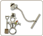 Sterling Silver Snowman Tie Tack / Lapel Pin with Snow Shovel and Black Hills Gold Leaves (SKU: PN1053SS)