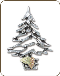 Sterling Silver Christmas Tree Brooch Pin with Black Hills Gold Leaves (SKU: PN415SS)