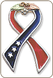 Support America Ribbon Tie Tack / Lapel Pin (SKU: TT946SS)