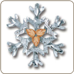 Sterling Silver Snowflake Tie Tack / Lapel Pin with Black Hills Gold Leaves (SKU: TT972SS)
