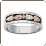 Z1. Ladies Black Hills White Gold Wedding Band (SKU: WGL02657)
