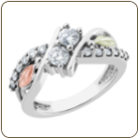 Ladies Black Hills White Gold Ring with Diamonds and Black Hills Gold leaves (SKU: WGL10039D)