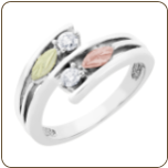 Ladies Black Hills White Gold Ring with Diamonds and Black Hills Gold leaves (SKU: WGLLR1949X)